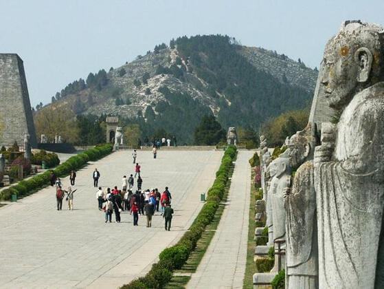 The Qianling Mausoleum is a Tang dynasty tomb site located in Qian County, Shaanxi province, China, and is 85 km northwest from Xi'an, formerly the Tang capital.
