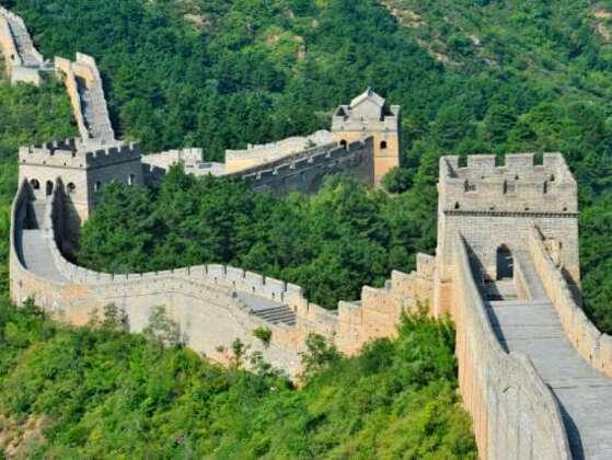The Great Wall of China is a series of fortifications made of stone, brick, tamped earth, wood, and other materials