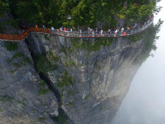 It is a breathtaking new skywalk that allows tourists to follow a curving path along a gigantic mountain.