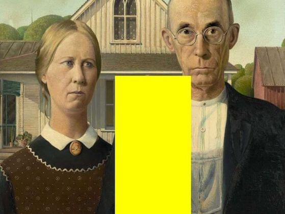 The man in this famous painting is holding a...