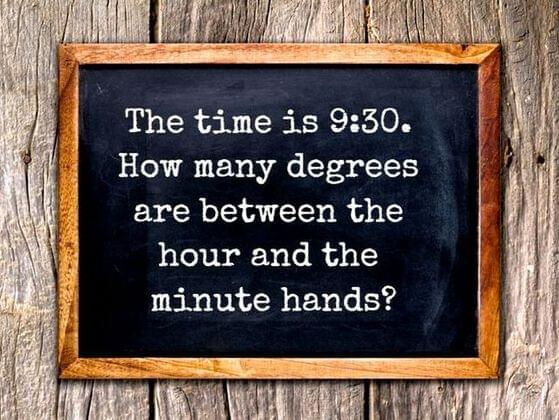 What degree the minute and second hands make when its 9:30?