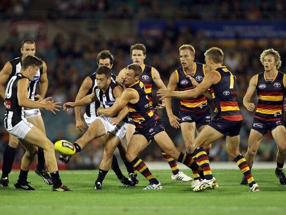 In Australian football, what is the maximum number of players allowed on the field at a time?