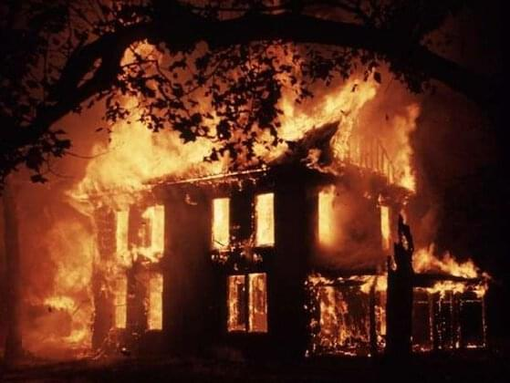 group of people gathered on your lawn, wielding bottles of alcohol with a cloth that has been lit at the end. They begin throwing said bottles at the house, and soon, one ends up through the window, and now half of your home is on fire. What do you do?