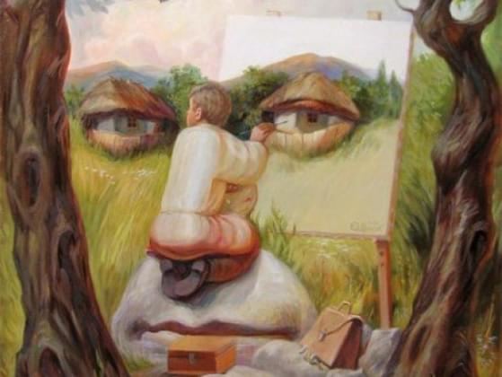 What is the man painting in this optical illusion?
