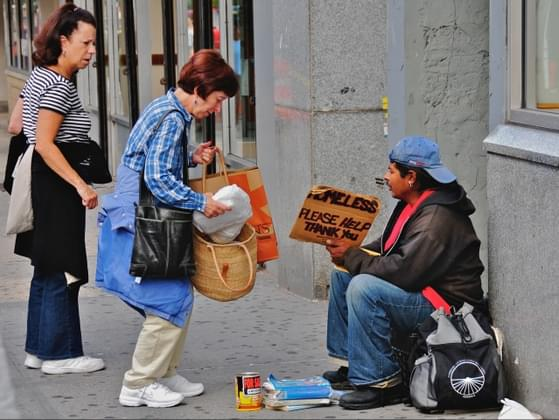 You see a homeless guy begging for loose change. What do you do?