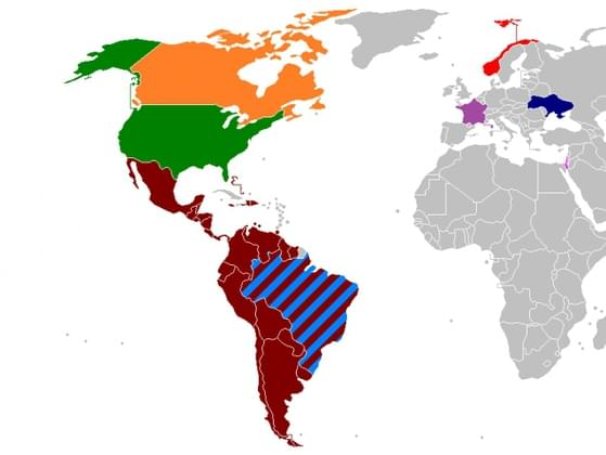 How many countries are colored in?