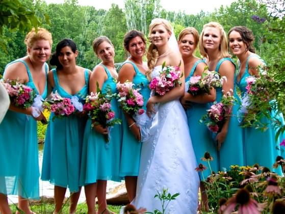 For bridesmaid dresses: all the same color, a mix of the same basic color, or totally different colors?