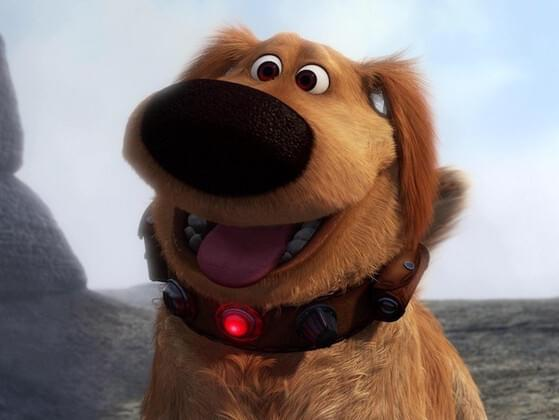 This dog is so happy to be near you. He loves you. Who is this famous pooch from Up?