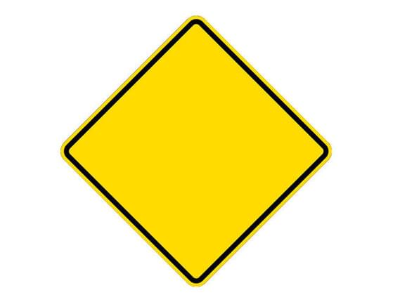 What does yellow and black diamond-shaped sign mean?