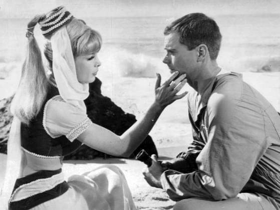 Who rescues Jeannie from a bottle and a deserted island in 'I Dream of Jeanie' (1965-1970)?