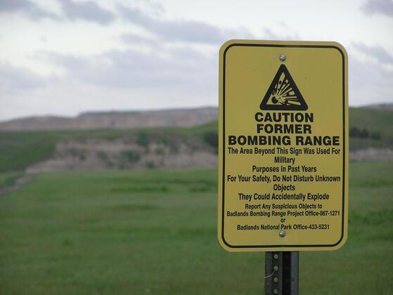 During World War II, The Badlands was used to test air-to-air and air-to-ground explosives, and undetonated bombs are still being discovered in the area today.