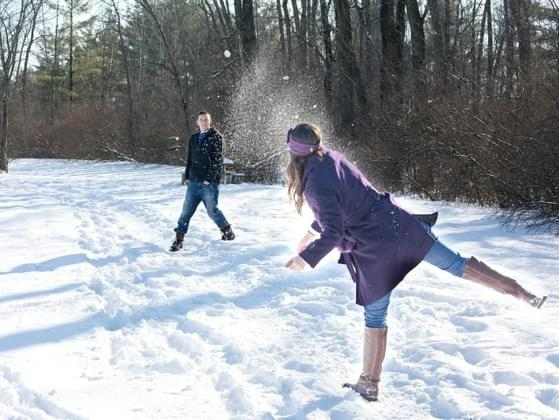 Snowball fight! You're hit with a stray snowball. You...