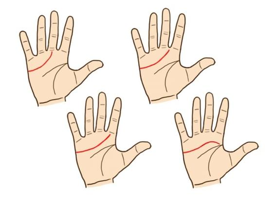 Using your dominant hand, find your heart line. Your heart line: