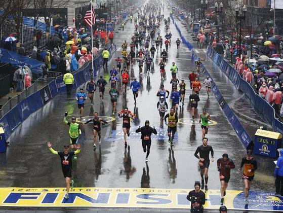 Where is the finish line for the Boston Marathon?