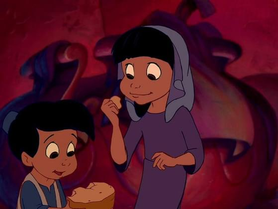 What's this stolen food that Aladdin gives two children at the beginning of the movie?