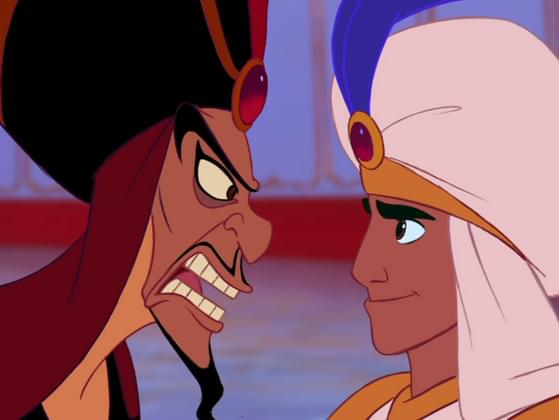 What animal is on the head of Jafar's staff?