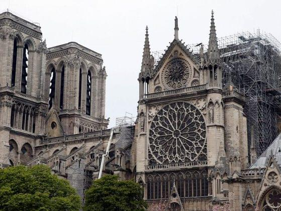 Who put the foundation stone of Notre Dame?