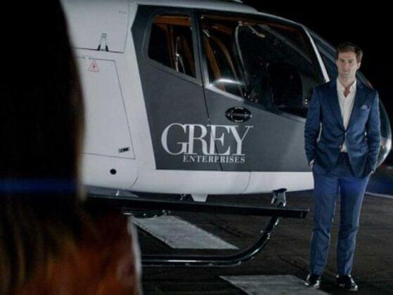 What is the name of Christian Grey's helicopter?