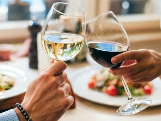 Time for dinner! Choose a glass of wine: