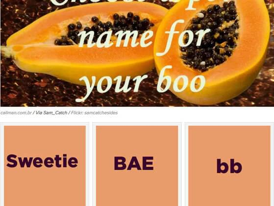 Choose a pet name for your boo